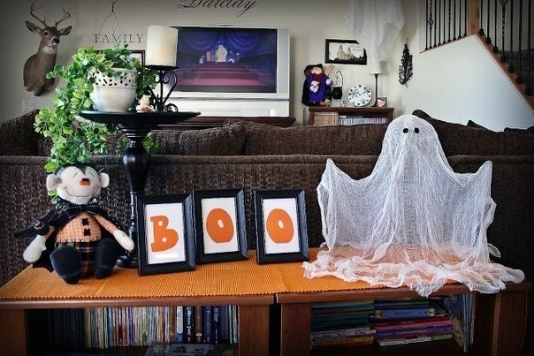 Halloween gauze ghost in the living room