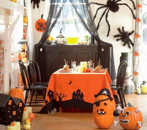 More ideas for decorating the living room and table for Halloween
