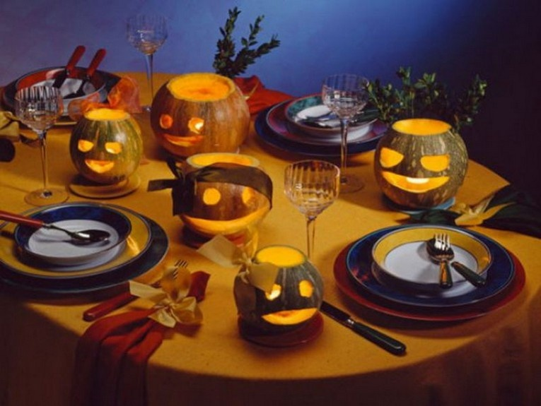 Halloween festive table decoration - photo