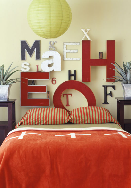 Headboard - letters, bedroom decor by own hands