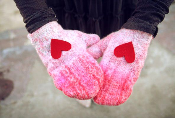 mittens with hearts gift for valentine day