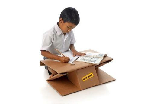 cardboard furniture for poor children from India