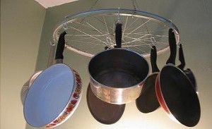 Storage of frying pans in the kitchen.