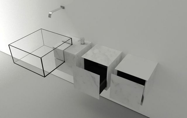 transparent glass sink with drawers Kub Basin