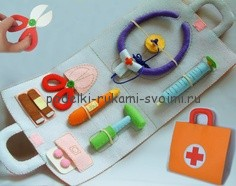 toys made of felt. children's doctor's set. set of tools