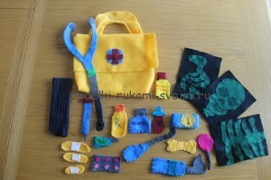 gaming set of felt. set of doctor. tool set (21)