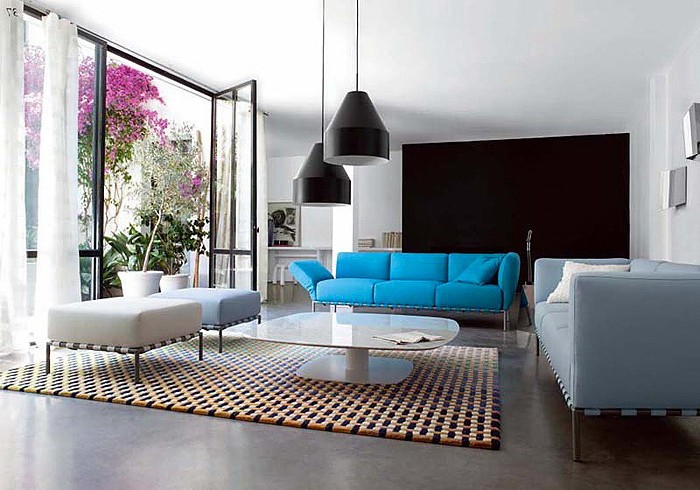 Bright IKEA sofa in the interior