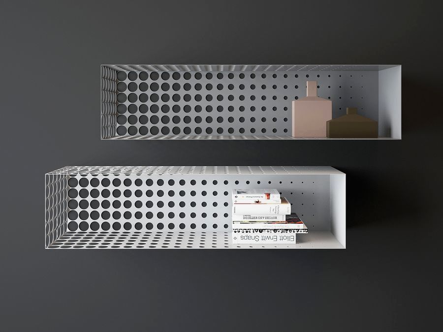 metal bookshelves with perforations