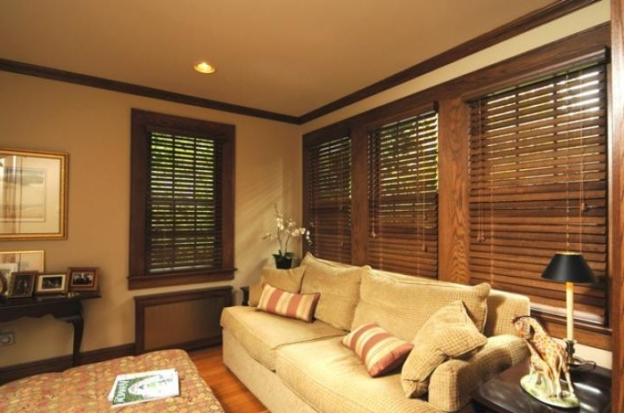 Wooden blinds in the living room interior