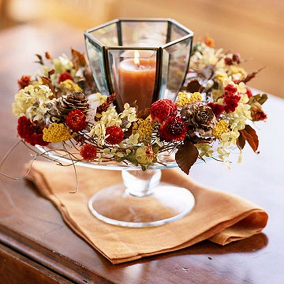 Candlestick decor for decorating the autumn living room