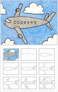 How to draw a plane pictures in stages. We study drawing with children.