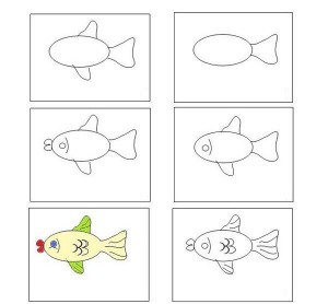 How to draw fish pictures in stages. We study drawing with children.