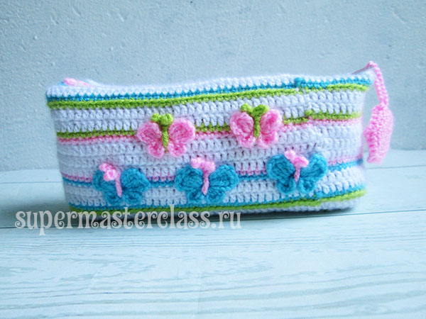 How to tie crochet pencil case: scheme