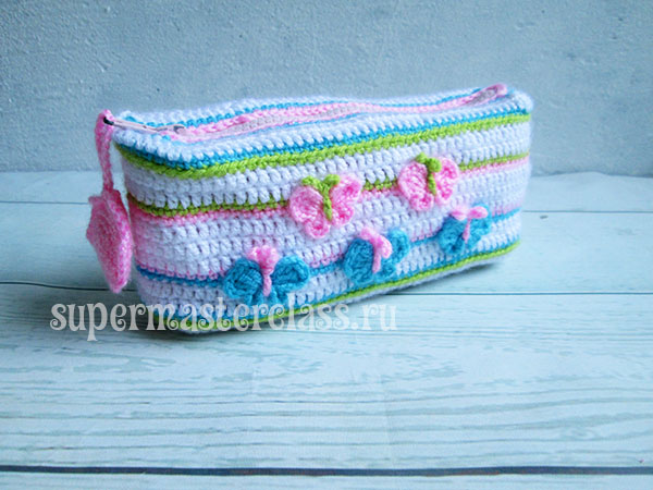 Crocheted pencil case