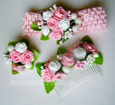 Set of handmade hair ornaments with artificial flowers