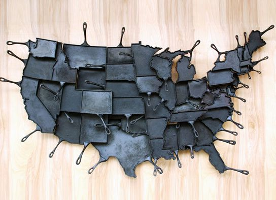 united states map of cast iron frying pans