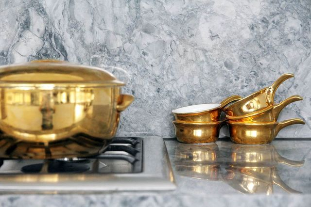 gold tableware for kitchen interior