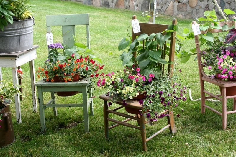 flower beds for a garden of old chairs