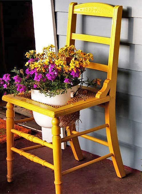 flowerbed of a chair with a seat in a seat