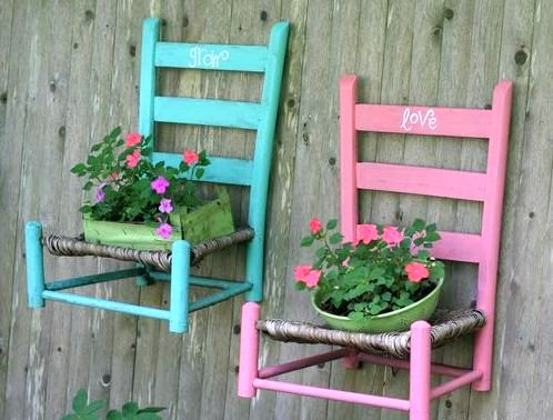 wall stands for flowers from chairs