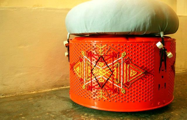 ottoman from the washing machine drum