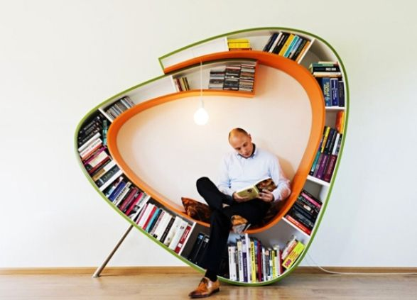 bookshelves with seating