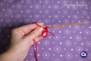 For knitting the initial circle with one double crochet, we make 2 air loops