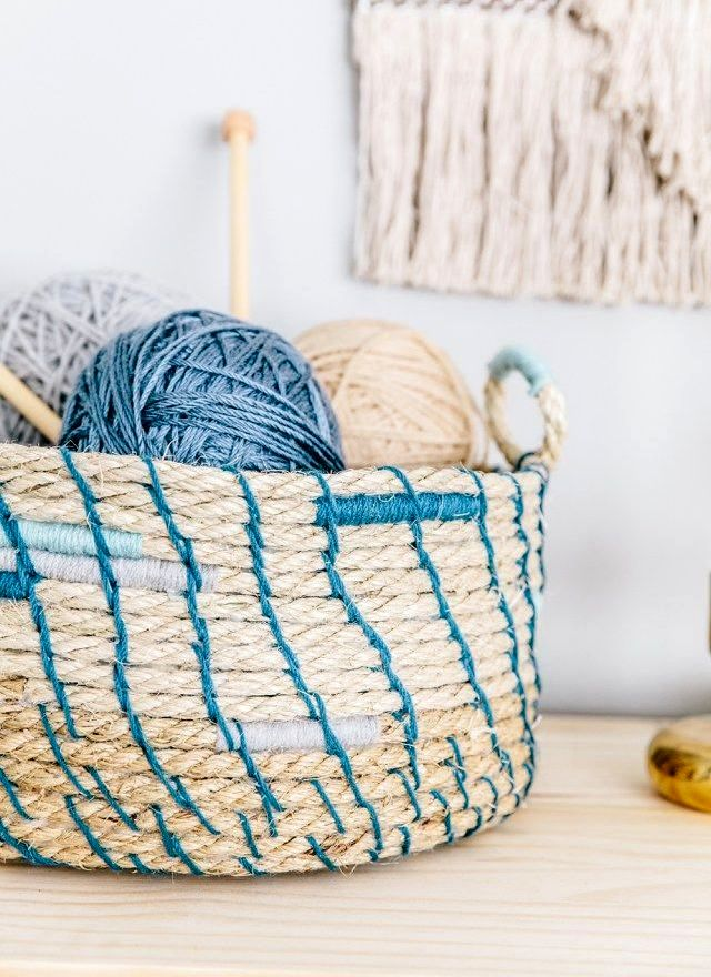 basket of rope for knitting and sewing