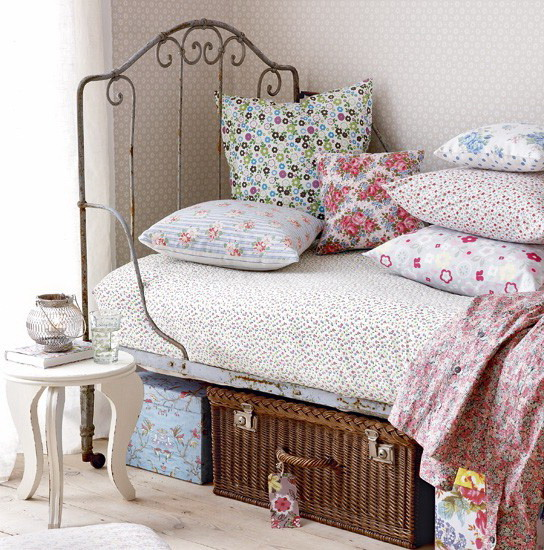Wrought iron bed in a vintage interior