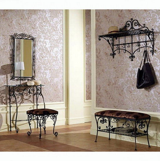 Wrought iron furniture for the hallway - spacious and elegant