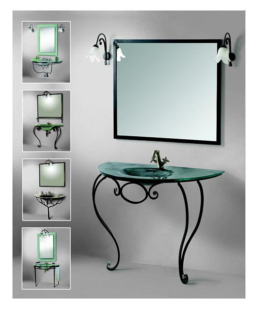 Forging in the interior of the bathroom - a combination of metal and glass