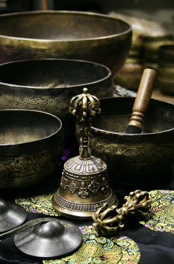 Forged singing bowls - interior decoration in oriental style