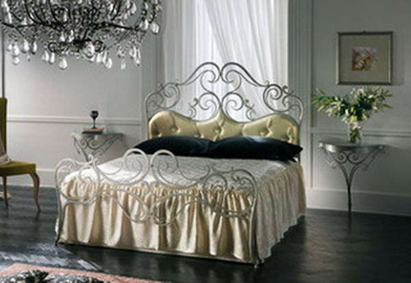 Wrought iron bed in the interior