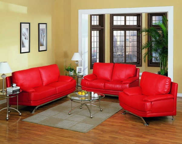 Bright red sofas and armchairs