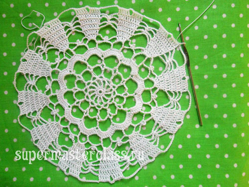 How to crochet a round napkin on the table