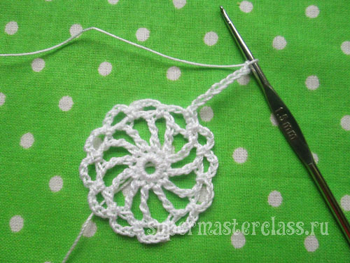 Crochet doily: the beginning of a row