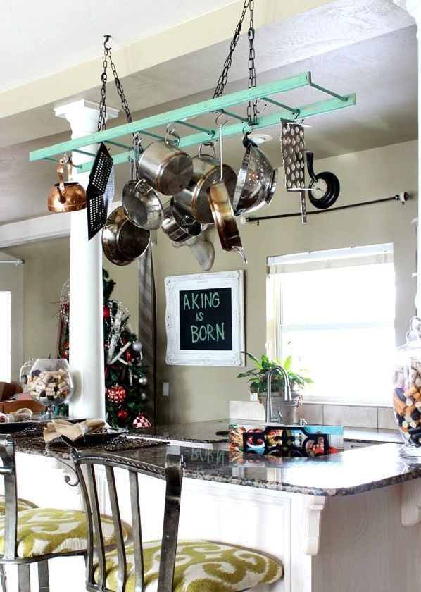 pendant ladder - an idea how to store pans and pans