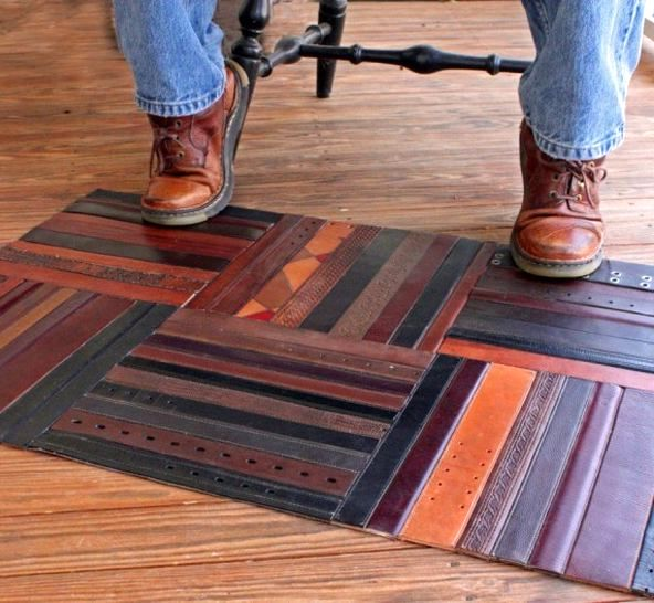 a mat from your own leather belts