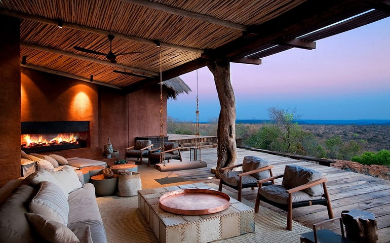 Open veranda for rest and relaxation in a villa in South Africa