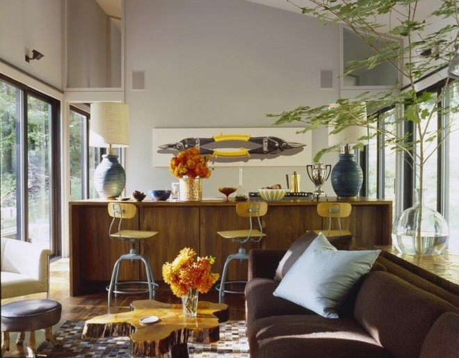 Eclecticism in the interior of a forest house