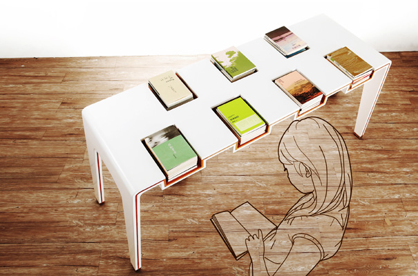 a coffee table with books