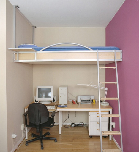 bed - loft for small narrow rooms