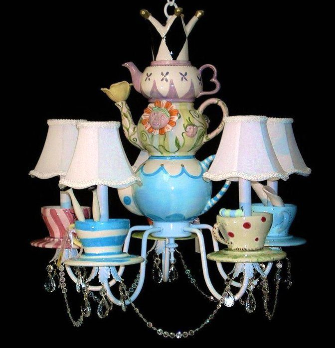 chandelier from cups and teapots