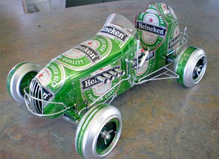 car of beer cans