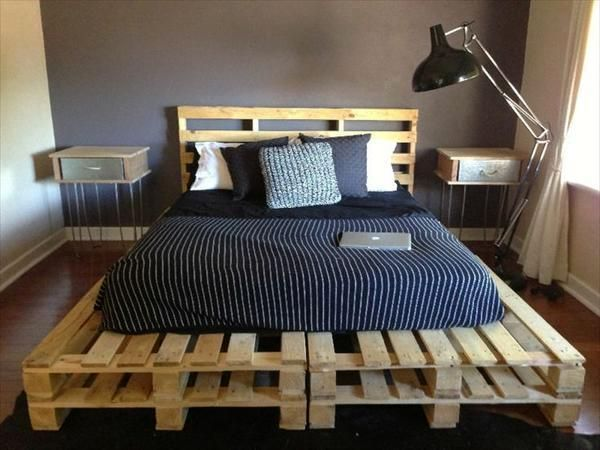 double bed with own hands from wooden pallets with a headboard