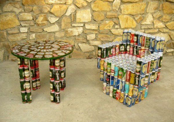 garden furniture from beer cans