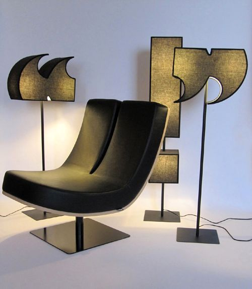 furniture in the form of letters and signs