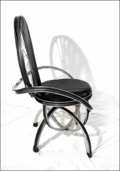 Furniture made of bicycle wheels.