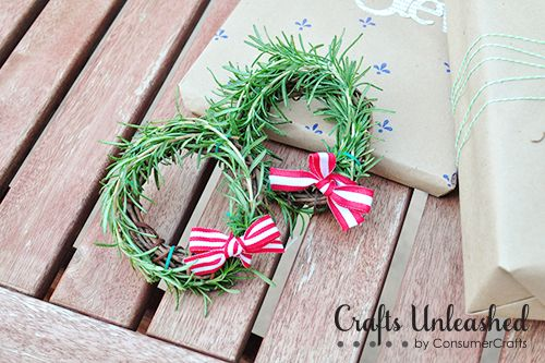 mini wreaths of rosemary