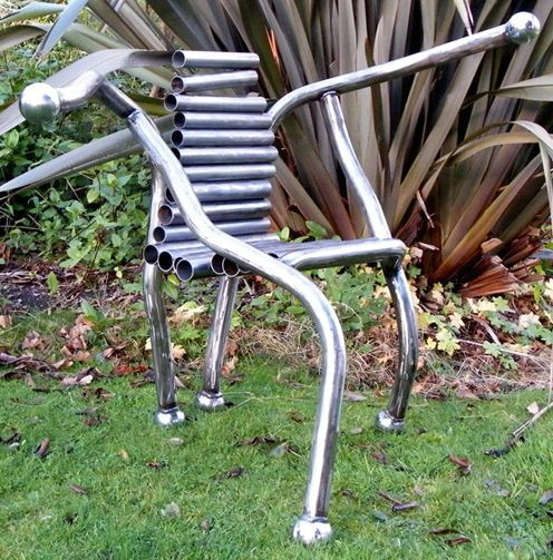 armchair made of metal welded pipes